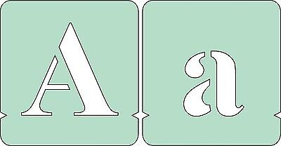 Letters Stencils Set, font sizes 40mm, 50mm, 75mm, 100mm, Upper and Lowercase