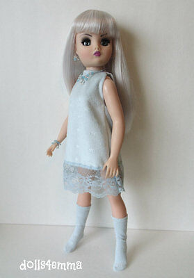 CISSY DOLL CLOTHES Blue Dress w/lace + Boots + Jewelry HM Fashion NO DOLL d4e