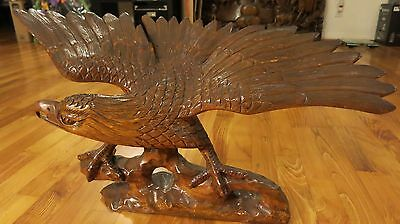 Rare antique large eagle 3d detail solid wood carving - One of Kind