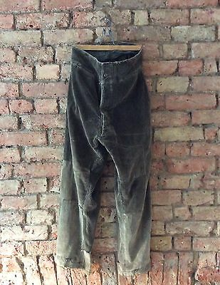 Antique 1920s-1930s  French Hunting Corduroy Trousers Vintage Patched