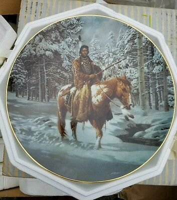 """The Hamilton Collection """"Man Who Walks Alone""""  Mystic Warriors Plate Collection"""