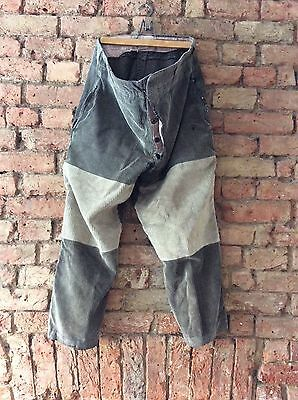 Antique 1930s-1940s  French Hunting Corduroy Trousers Vintage Patched