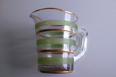 Vintage Green Frosted Glass Jug 1940s 1950s with gold coloured gilding Retro