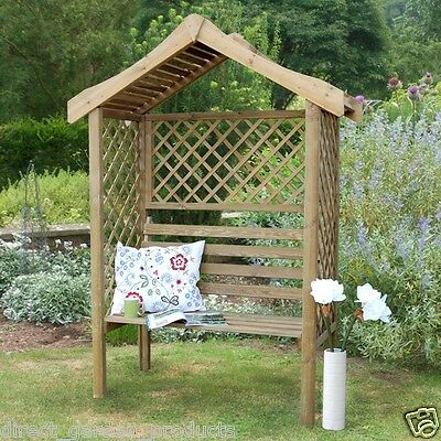 Wooden Garden Arbour  Pressure Treated Outdoor Diamond Trellis & Curved Roof New