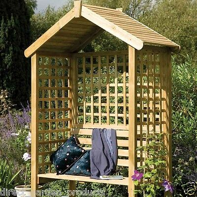 Wooden Garden Arbour Pressure Treated Wood Outdoor Seat Trellis Apex Roof New