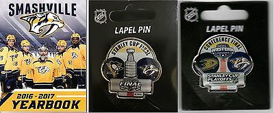 Nashville Predators Yearbook Two Pin Combo Stanley Cup & West Conference Dueling