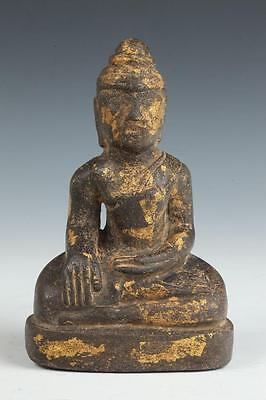 BURMESE STONE FIGURE OF SEATED BUDDHA. - H: 6 3/4 in. Lot 4