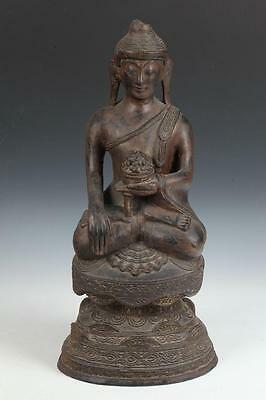 BURMESE GILT WOOD FIGURE OF SEATED BUDDHA. - H: 21 3/4 in. Lot 6