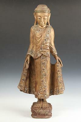 BURMESE GILT WOOD FIGURE OF STANDING BUDDHA. - H: app. 30 in. Lot 7