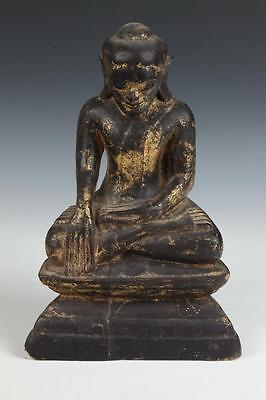 BURMESE GILT WOOD FIGURE OF SEATED BUDDHA. - H: 13 1/2 in. Lot 5