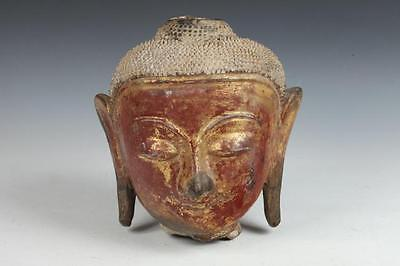 BURMESE GILT WOOD BUDDHA HEAD. - H: app. 10 in. Lot 8