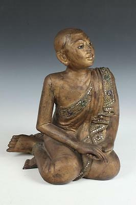BURMESE GILT WOOD FIGURE KNEELING MONK. - H: 15 in. Lot 10