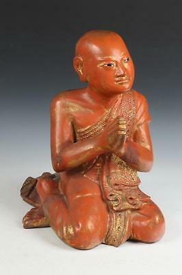 BURMESE GILT WOOD FIGURE OF PRAYING MONK. - H: 18 in. Lot 13