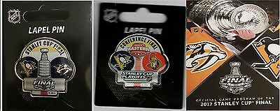 2017 Stanley Cup Program Nhl + Two Pin Combo Penguins Eastern Conference Dueling