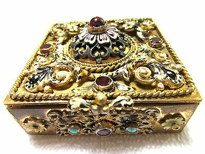 Ornate Antique 1880 Hungary Pill Box Pin Ring Snuff 835 Silver Jeweled Sterling