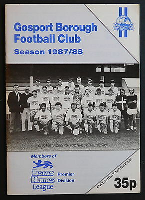 GOSPORT BOROUGH Vs RUGBY Programme - 21 November 1987