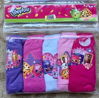 Shopkins Girls Underpants / Knickers x 5 - 100% Cotton - Age 9 - 10 New Sealed