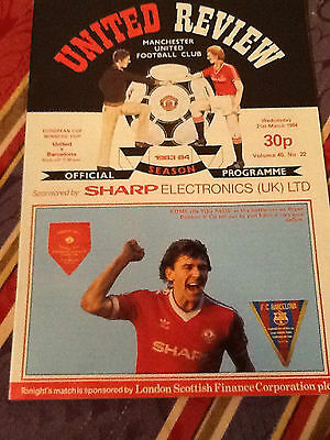 1983/4  PLUS TICKET---Manchester United v Barcelona (Cup Winners Cup)