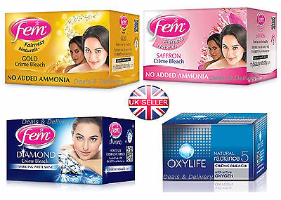 Dabur Fem Diamond Gold Saffron Oxylife Cream Creme Bleach Face Skin Whitening