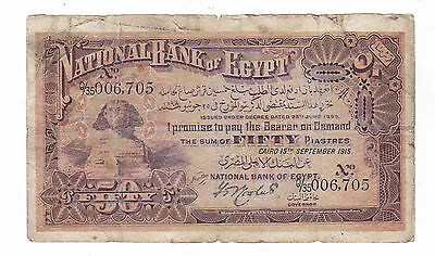 Egypt National Bank of Egypt 50 Piastres 15.9.1915 Pick 11 (SPHINX) Rare date