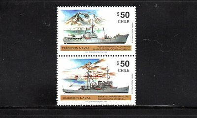 Chile 1990 Naval Tradition se tenant pair SG 1288/9 MUH