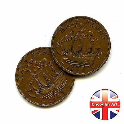 A pair of 1947 British Bronze GEORGE VI HALFPENNY Coins