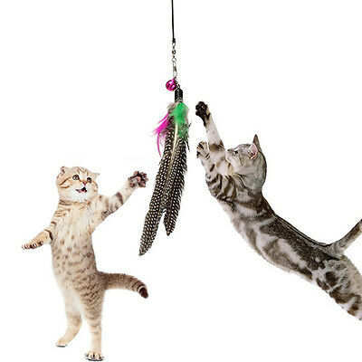 Pet Cat Toy Feather Teaser Plastic Wand Toy Teasers With Bell For Cat Play Fun