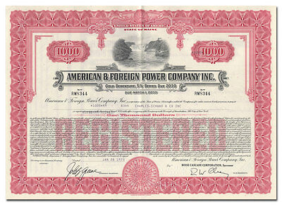 American & Foriegn Power Company, Inc. Bond Certificate