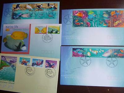 5 x  first day covers CHRISTMAS ISLAND 1995.1998.