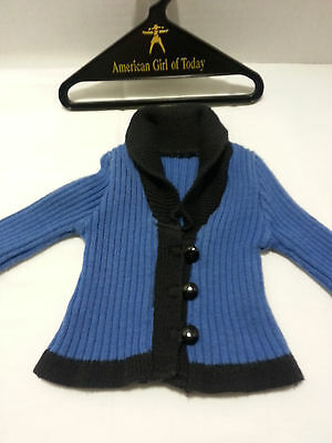 American girl doll rebecca's school blue cardigan button up sweather - retired