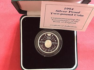 1994 Royal Mint Silver Proof £2 Two Pounds Coin- Bank Of England
