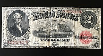 1917 $2 Red Seal United States Note Note *  Nice Note  *