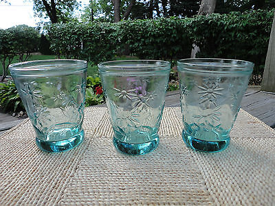 2 or 3 Green/Aqua Embossed Pressed Glasses Daisy Flower Sunflower Tumblers EUC