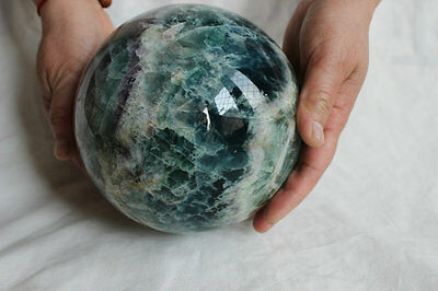 6.02kg 13.3LB Natural Fluorite Crystal Sphere Ball Polished Healing China 6.1""