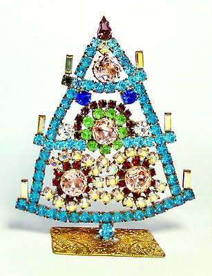 Luxury Vintage Czech Handmade Rhinestones Christmas Tree Decoration Filigree