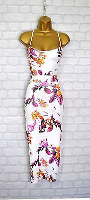~ADELE~ White & Purple Floral Midi Bodycon Summer Evening Party Dress 8 10 12 14