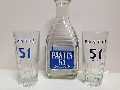 French 1960's Pernod 45 Pastis/51 Carafe & two Glasses. Collectable Breweriana
