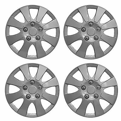 "14"" Car Wheel Trims Hub Caps Plastic Covers Set of 4 Silver Universal New York"