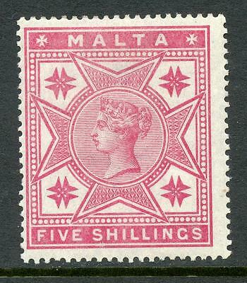 Malta 1886 QV 5/- Rose Watermark inverted MM.