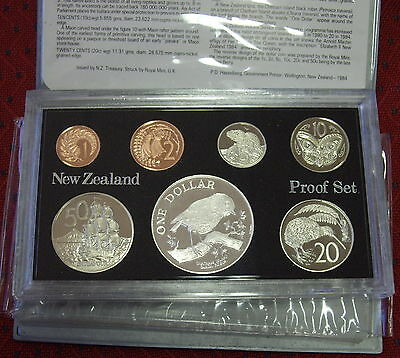 New Zealand 1984 Proof Set inc Black Robin Silver $1