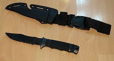 Dummy Flexible Rubber traning Knife with Sheath Airsoft Martial Art black #