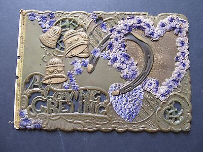 """Vintage """"A Loving Greeting"""" card - Celluloid plastic embossed with no backing"""