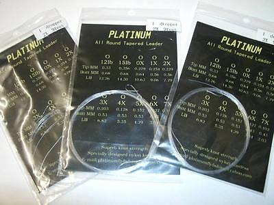 (12 PACK) Platinum 15 feet tapered leaders 4 EACH @ 4,5 &6lb