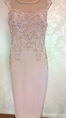 New stunning Phase Eight pink dress with bead detail size 12