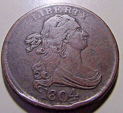 Nicer...1804, Half Cent (Draped Bust)***VF Or So Very Early 1/2c***
