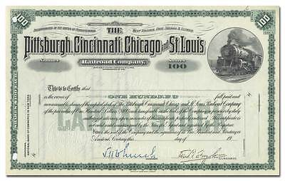 Pittsburgh, Cincinnati, Chicago and St. Louis Railroad Company Stock Certificate