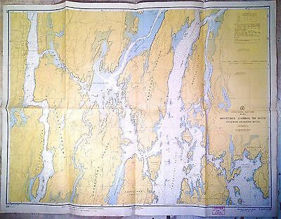 Vintage 1946 Nautical Chart 230 Boothbay Harbor to Bath Maine
