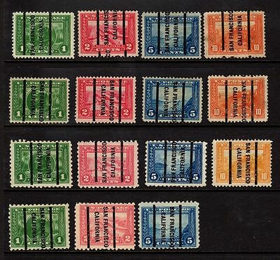 San Francisco  PSS Type L-12 E Precancel on Panama Pacific 15 Different