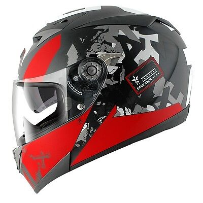 Shark S700S Trax Full Face Motorcycle Helmet - Matt Black / Red / Anthracite