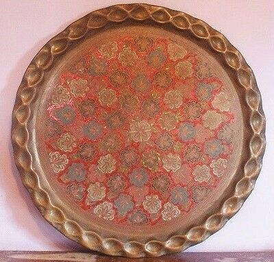 Antique Islamic Handmade Circular Brass Server Tray - Free Shipping